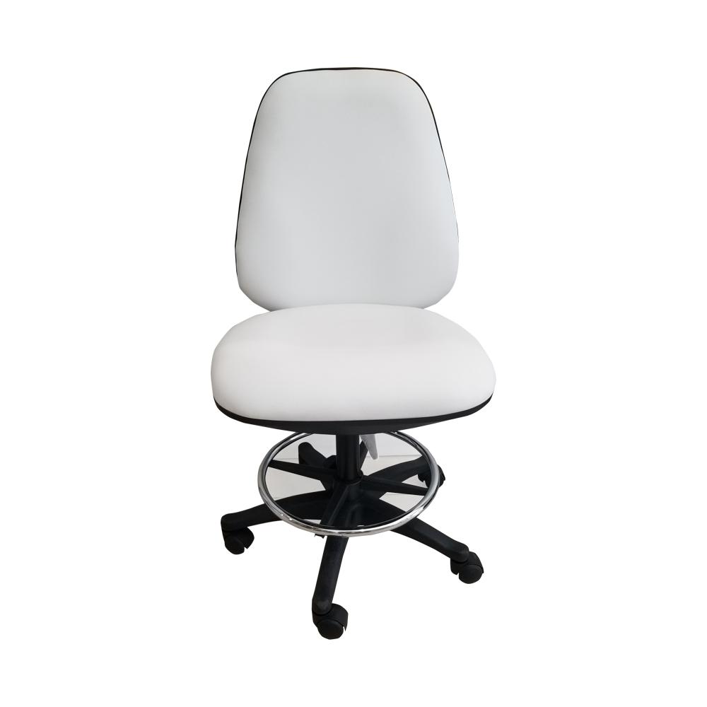כסא פנאומטי עם משענת לבן